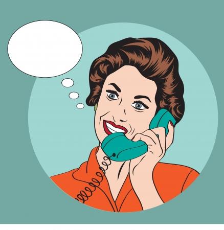 電話で話して Popart コミック レトロな女性  イラスト・ベクター素材