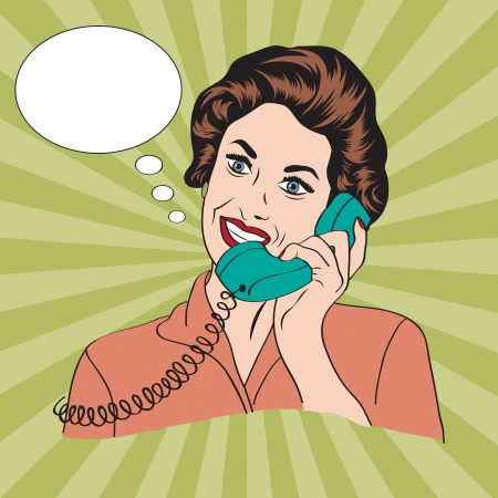 Popart comic retro woman talking by phone, vector illustration Vector