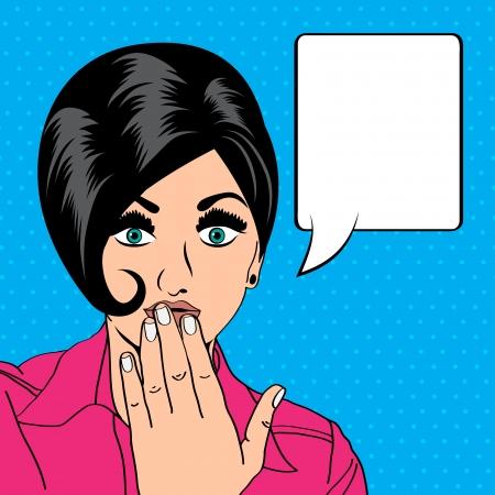 Mujer retro lindo en estilo cómic Foto de archivo - 25521491