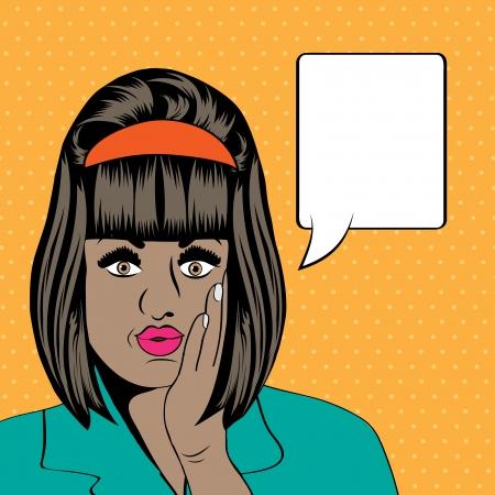 cute retro black woman in comics style illustration Vector