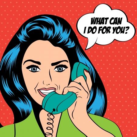 vrouw chatten op de telefoon, pop art illustratie Stock Illustratie