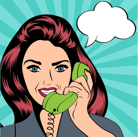 woman chatting on the phone, pop art illustration  Vettoriali