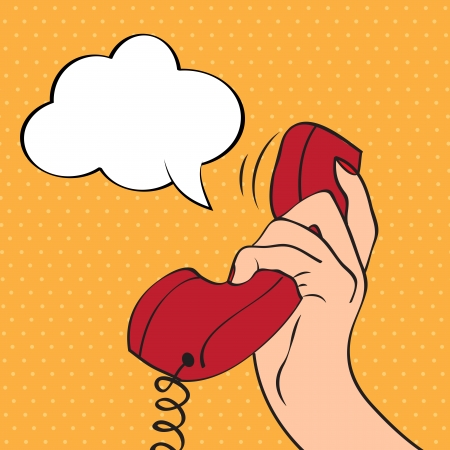 answering phone: Hand holding a phone, pop art illustration