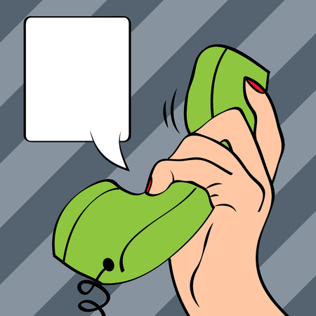 telephones: Hand holding a phone, pop art illustration