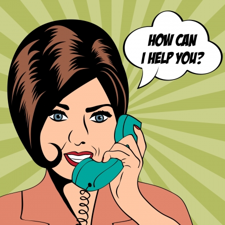 woman chatting on the phone, pop art illustration  Vector