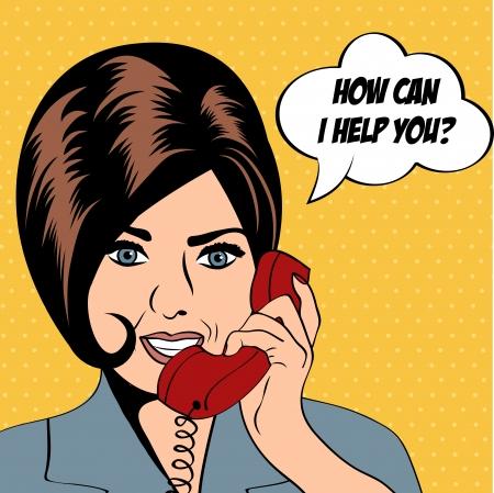 woman chatting on the phone, pop art illustration  Illustration