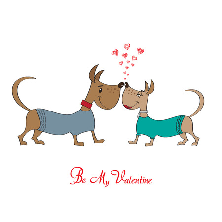 Valentine s day greeting card with cartoon dog characters, vector format Vector