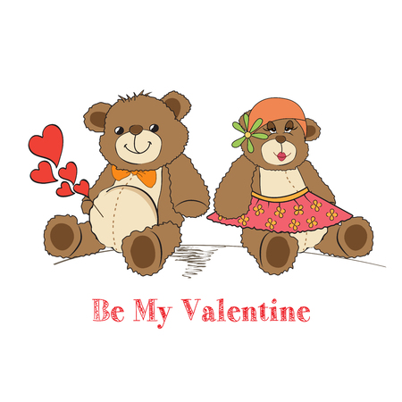 Couple of teddy bears in love, vector illustration Vector