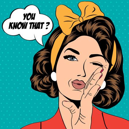 style: Mujer retro lindo en estilo cómic, ilustración vectorial