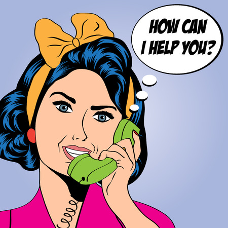 telephones: woman chatting on the phone, pop art illustration in vector format