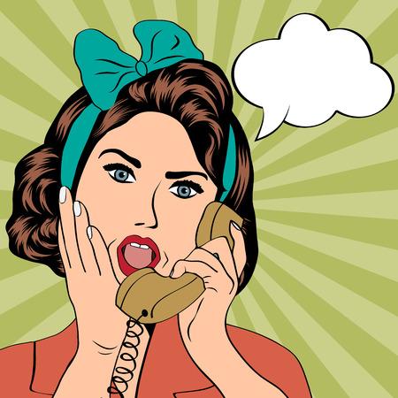 vintage lady: vrouw chatten op de telefoon, pop art illustratie in vector-formaat