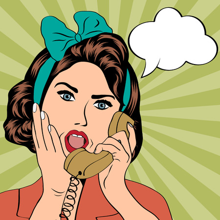 pinup: woman chatting on the phone, pop art illustration in vector format