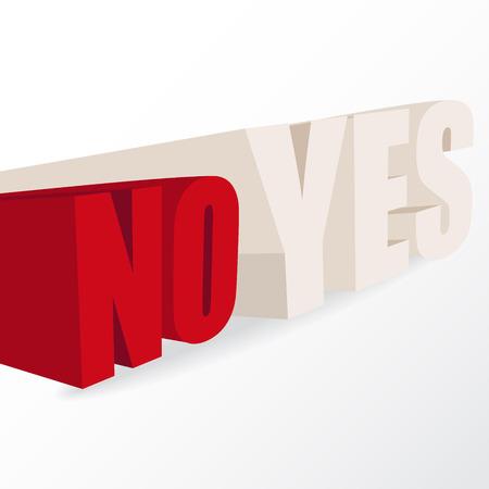 """indeciso: las palabras """"s�"""" y """"no"""", ilustraci�n conceptual de una decisi�n, en formato vectorial"""