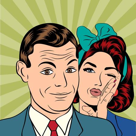 femme amoureuse: Couple homme et femme dans l'amour popart style bande dessin�e, illustration vectorielle