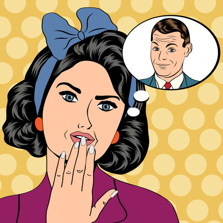 thinking bubble: illustration of a woman who thinks a man in a pop art style, vector format