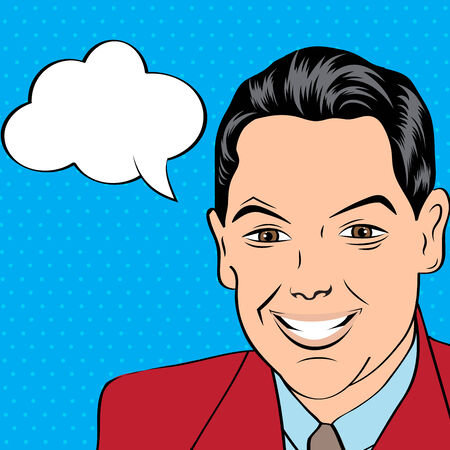 smiling businessman, pop art style illustration in vector format Vector