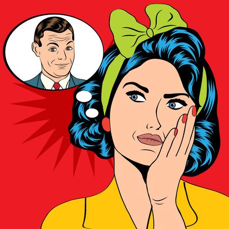vintage lady: illustratie van een vrouw die een man denkt in een pop-art stijl, vector-formaat