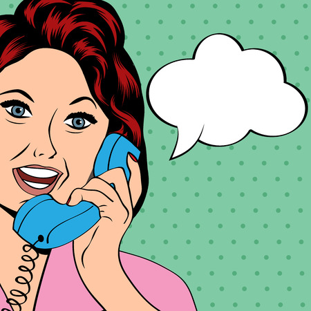gals: Pop Art lady chatting on the phone, vector illustration