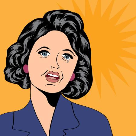 weep: Pop Art illustration of a sad woman, vector illustration