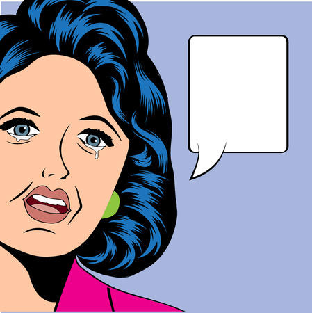 insulted: Pop Art illustration of a sad woman, vector illustration