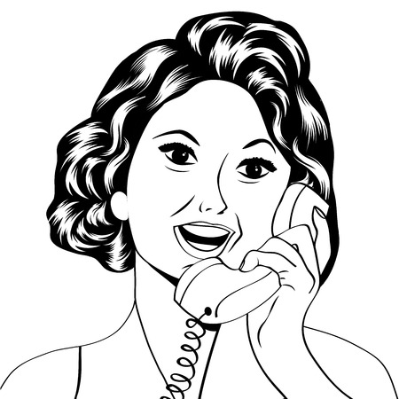homemakers: Pop Art lady chatting on the phone, vector illustration
