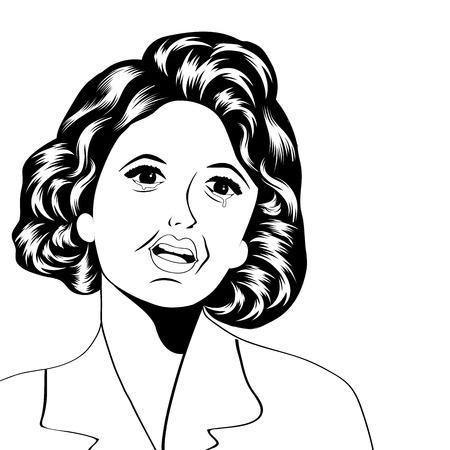 caras tristes: Ilustración del arte pop de una mujer, ilustración vectorial triste