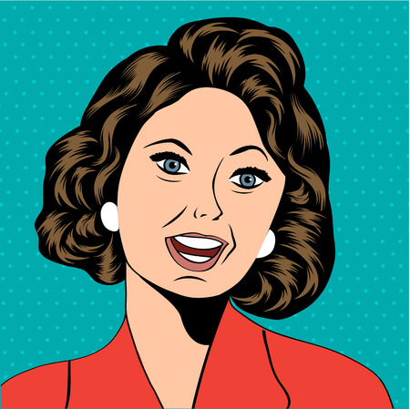Pop Art illustration of a laughing woman, vector format Vector