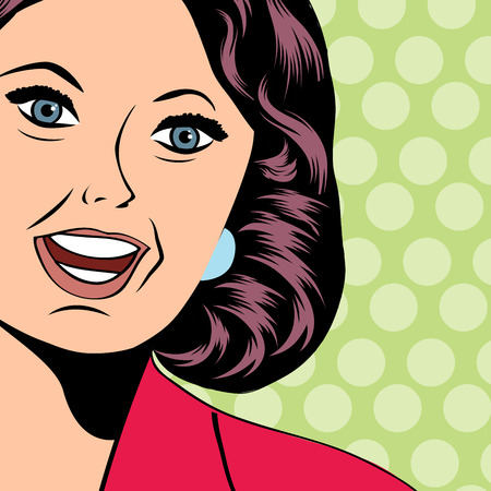 caricature woman: Pop Art illustration of a laughing woman, vector format Illustration