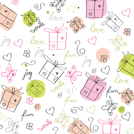 hand draw texture - seamless pattern with hearts, gifts, butterflies, flowers and texts, vector illustration Vector