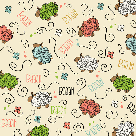 Cute seamless pattern with sheeps, vector format Vector