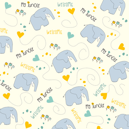 Seamless baby elephant pattern, illustration in vector format