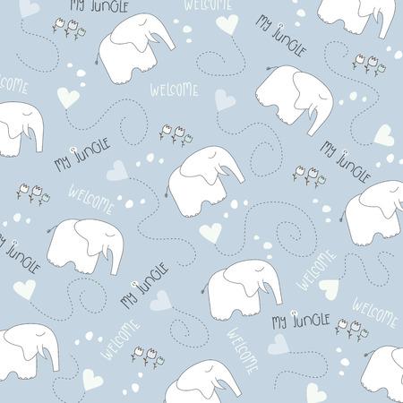 Patrón elefante inconsútil del bebé, la ilustración en formato vectorial
