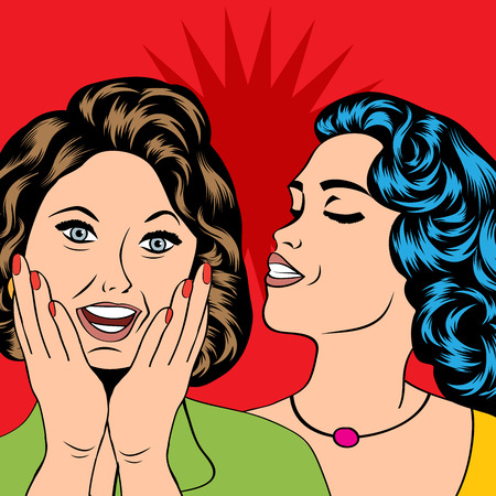 gossiping: Two young girlfriends talking, comic art illustration in vector format