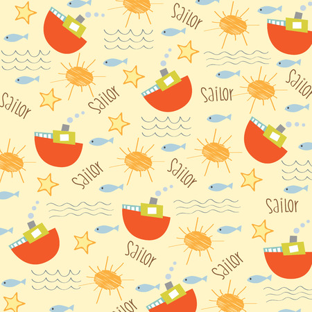 seamless boat pattern, illustration in vector format Vector