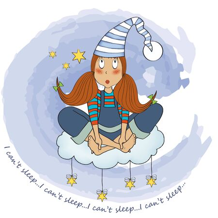 insomnia: funny young girl who has insomnia, vector illustration