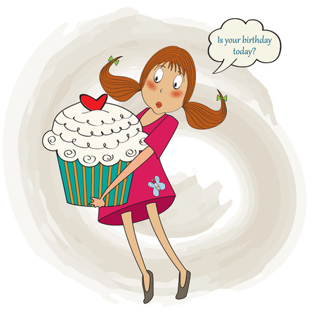 carries: young pretty girl who carries a big cake, birthday greeting card, vector illustration