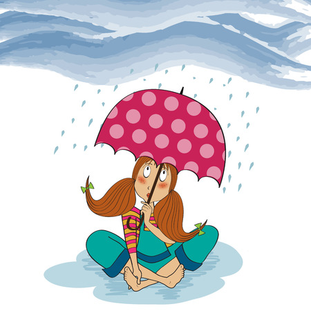 barefoot young girl sit down in the rain, vector illustration Vector