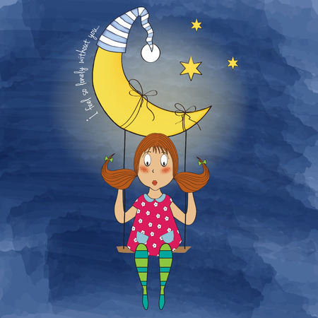scribbling: nostalgic young girl swinging in a swing hanging from the moon, vector format