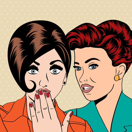 intimate: Two young girlfriends talking, comic art illustration in vector format