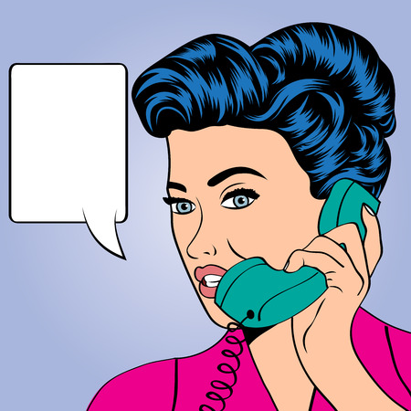 woman chatting on the phone, pop art illustration in vector format Stock Vector - 26241407