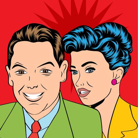 femme amoureuse: Couple homme et femme dans l'amour Pop Art style bande dessin�e, illustration vectorielle Illustration