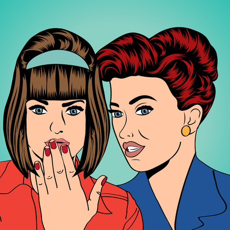 two friends talking: Two young girlfriends talking, comic art illustration in vector format