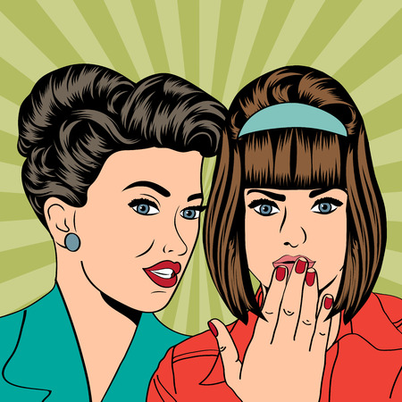 Two young girlfriends talking, comic art illustration in vector format