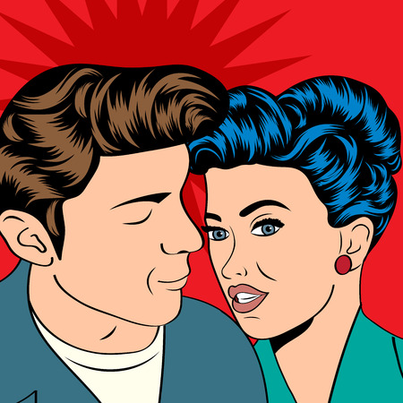 woman in love: Man and woman love couple in pop art comic style, vector illustration