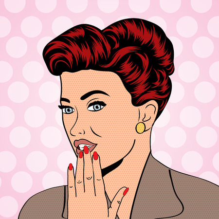 girl mouth: cute retro woman in comics style, vector illustration