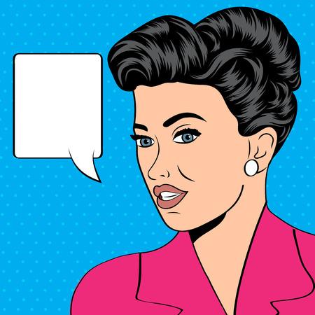 beautiful girl face: cute retro woman in comics style, vector illustration