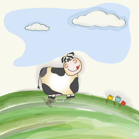 cute doodle cow on meadow, vector illustration Vector