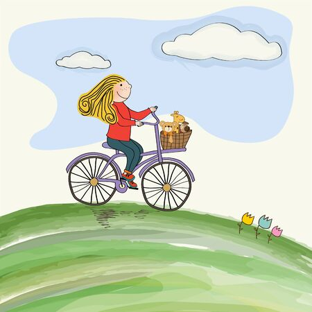 young girl cycling in the meadow, vector illustration Vector