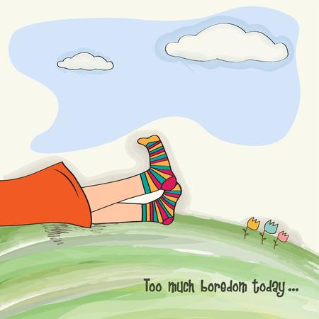 funny  feet on green grass, vector illustration