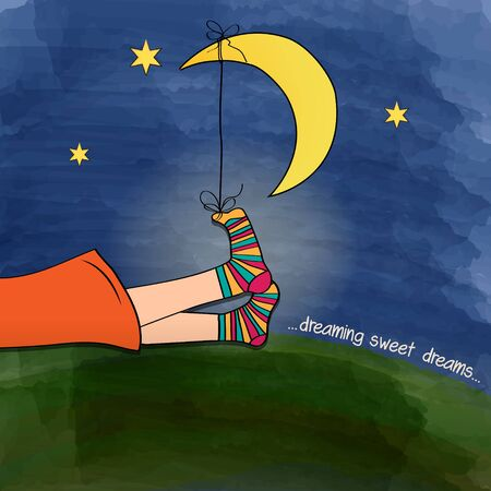 woman lying down: funny  feet on green grass at night, vector illustration